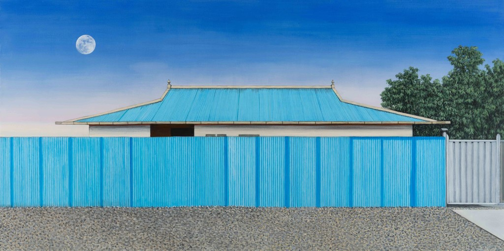 Blue Roof, 97x194cm, Acrylic on linen, 2018