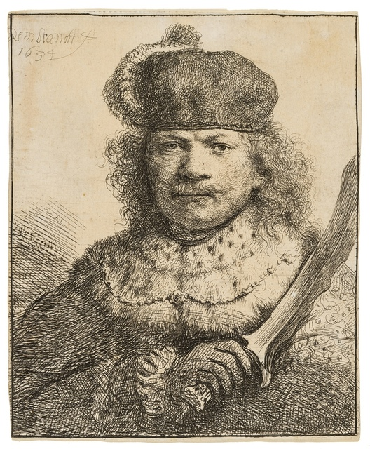 Rembrandt van Rijn, 'Self-Portrait with a Raised Sabre', 1634, Print, Etching and engraving, Forum Auctions