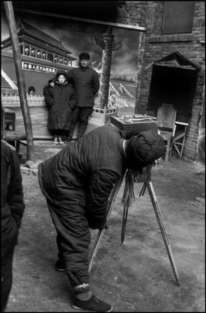 , 'Father and son in a photographer's studio, Beijing,' 1957, Magnum Photos