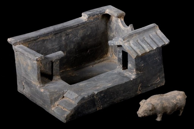 Han Dynasty, 'Terracotta Model of Farm Stead with Pig', 206 BCE-220, Muzeion Gallery