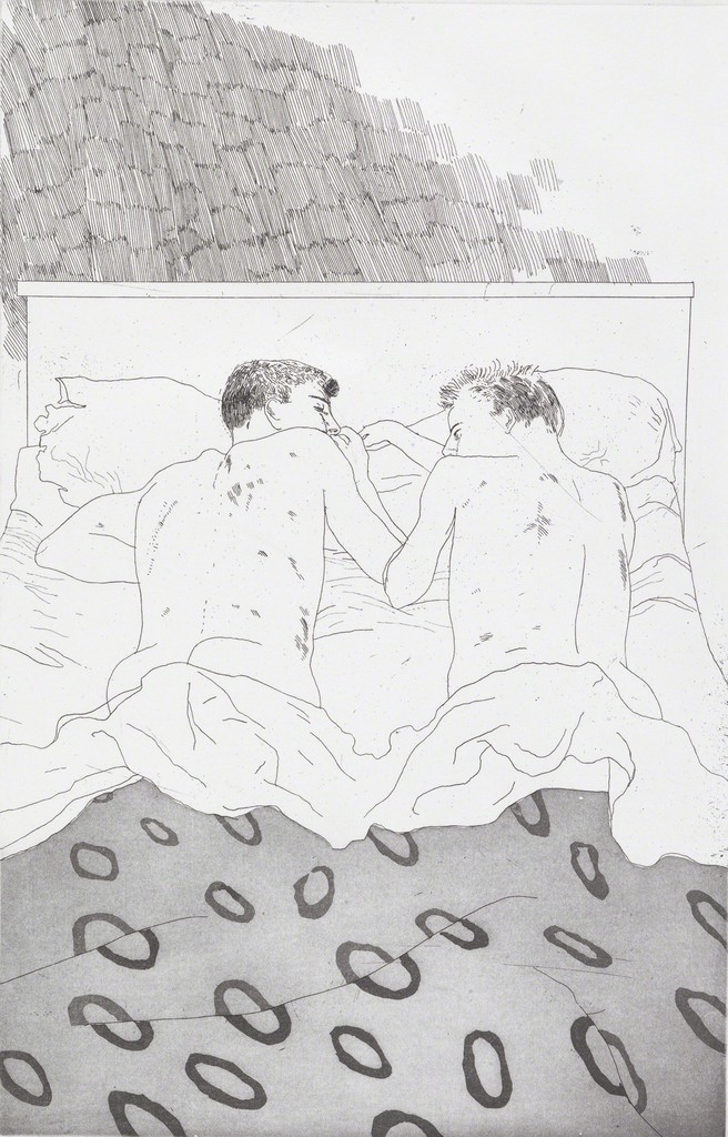 "David HOCKNEY ""Two boys aged 23 or 24"" from  Illustrations for ""Fourteen poems from CP Cavafy"", 1966, etching and aquatint on paper, Tate: Purchased 1992 ©David Hockney"