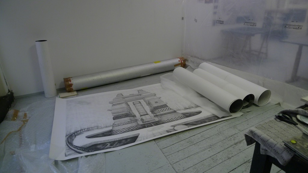 Robbie Cornelissen. Studio view with Tower of Babel drawing