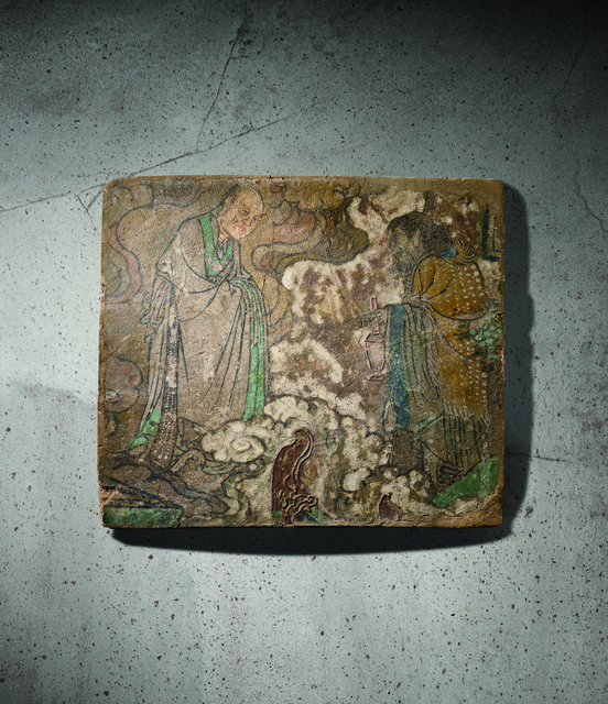 , 'A Polychrome Fresco Fragment of Rectangular Form Painted with an Immortal 元14世紀 灰泥彩繪仙人會胡人圖壁畫殘部,' China: Yuan Dynasty-14th century, Rasti Chinese Art