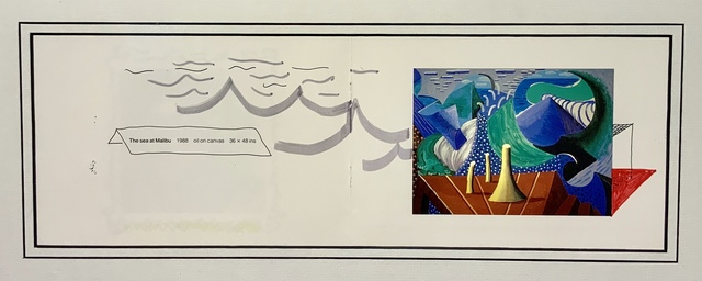 David Hockney, ''The Sea at Malibu' including additional hand-drawn waves and sea.', 1988, Mr & Mrs Clark's
