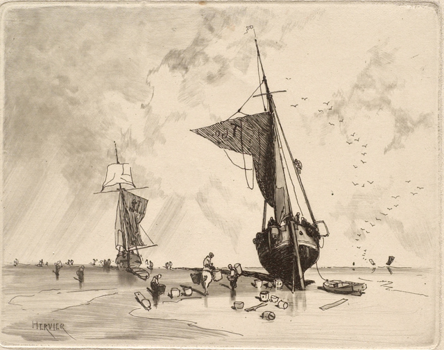 Louis Adolphe Hervier, 'Fishing Boat', ca. 1854, Print, Etching, aquatint and drypoint on paper, Clark Art Institute