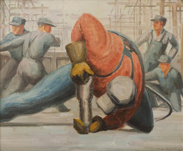 , 'Rivetter on Deck, United Shipyards,' 1944, Canadian Fine Arts