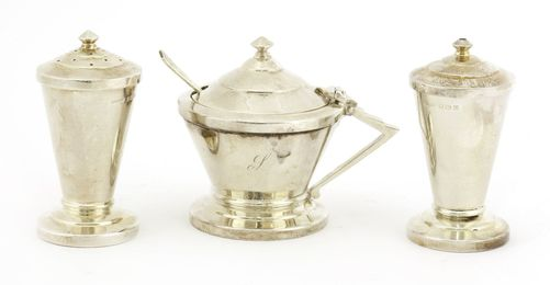 An Art Deco silver three-piece condiment set