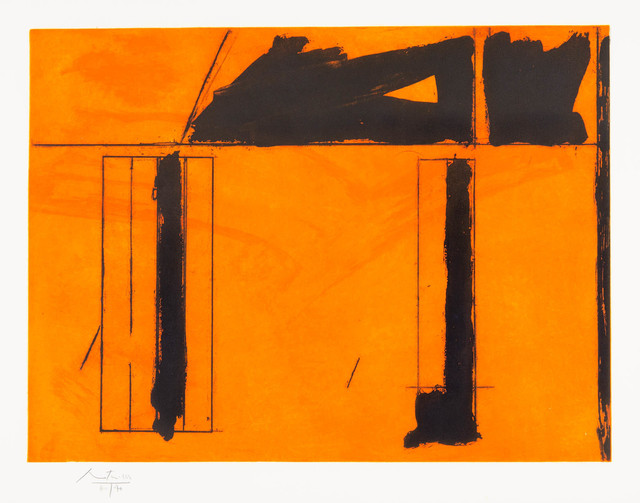 Robert Motherwell, 'La Casa de la Mancha', 1984, Print, Original aquatint, lift-ground etching and aquatint printed in two colors (orange, black) on Whatman wove paper., Galerie d'Orsay