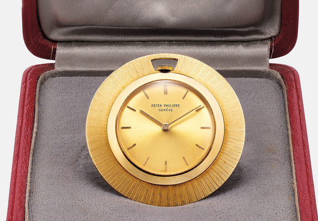 Patek Philippe, 'A rare and attractive yellow gold openface pocket with presentation box', 1963, Phillips