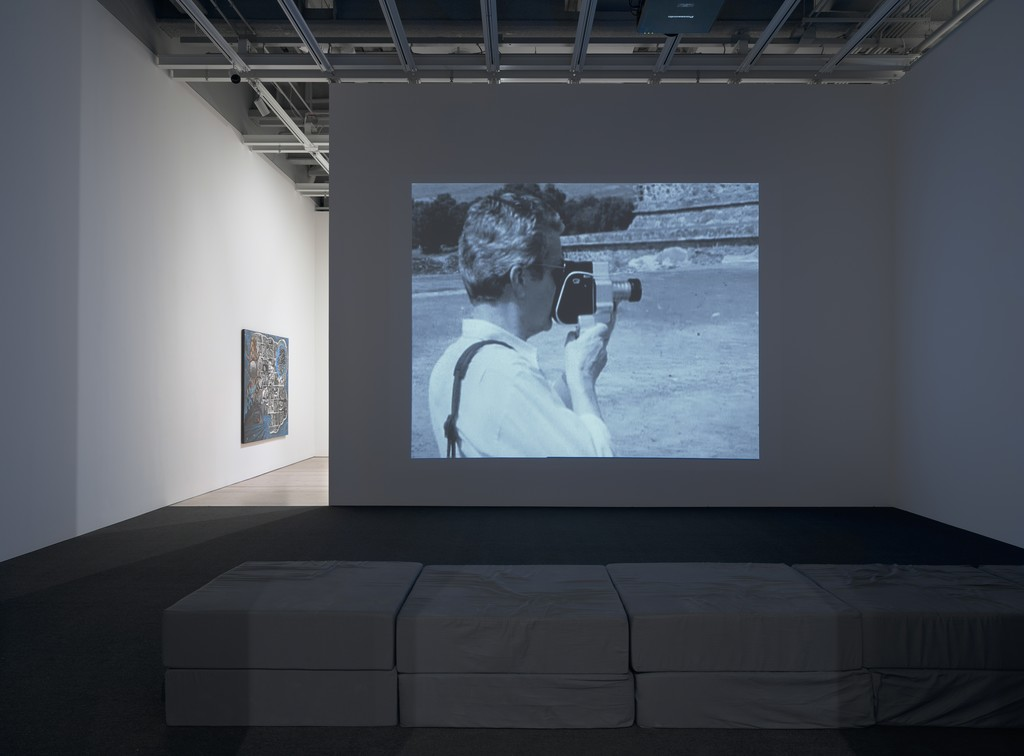 Installation view of David Wojnarowicz: History Keeps Me Awake at Night (Whitney Museum of American Art, New York, July 13-September 30, 2018). From left to right: Unfinished Film (A Fire in My Belly), 1986-87; Unfinished Film (Mexico, etc… Peter, etc…), 1987; Unfinished Film (with sequence in memory of Peter Hujar), c. 1987; Unfinished Film (Mexico Film Footage II), c. 1988; Water, 1987. Photograph by Ron Amstutz
