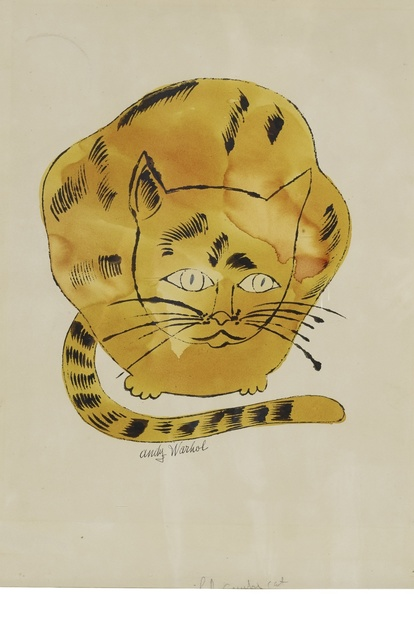 Andy Warhol, 'Cat', 1957, Drawing, Collage or other Work on Paper, Ink, watercolor and graphite on paper, Sotheby's