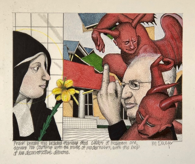Michael Dwyer, 'Frank breaks the braided stainless steel cables of modernism and severs his courtship with the muse of modernism, with the help of his deconstructive demons.  ', 2020, Drawing, Collage or other Work on Paper, Mixed Media on Paper, M.A. Doran Gallery