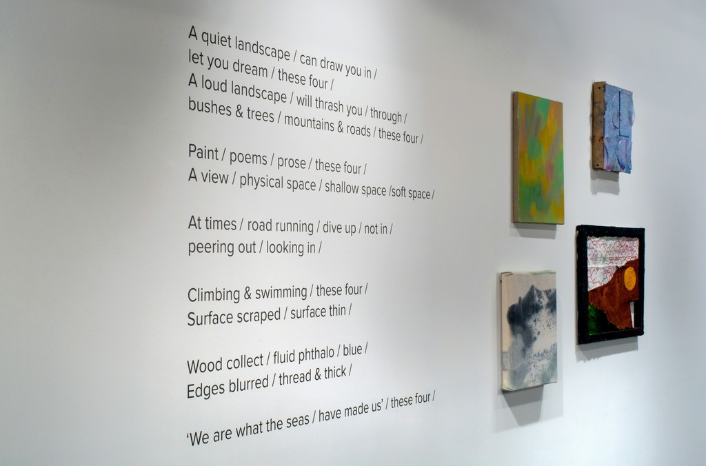 A poem by Catherine Haggarty accompanied by a painting from each of the four artists featured in the exhibition