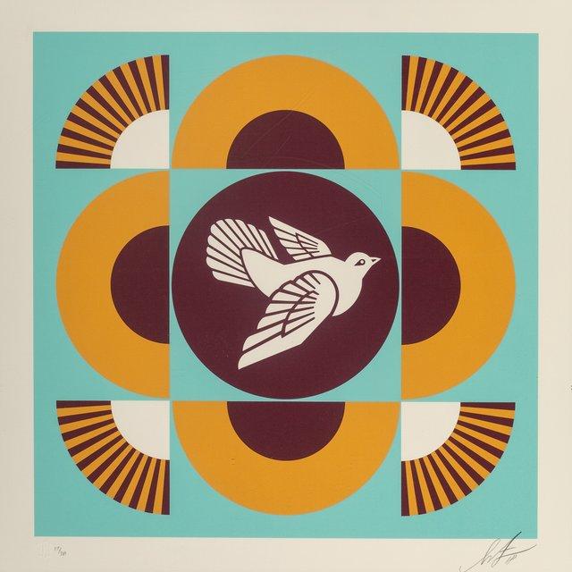 Shepard Fairey, 'Dove Geometric, set of three', 2018, Print, Screenprints in colors on cream wove paper, Heritage Auctions