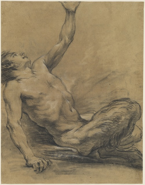 Jean-Baptiste Deshays, 'Seated Satyr Leaning Backward [recto]', 1758/1765, Drawing, Collage or other Work on Paper, Black chalk with stumping, heightened with white on brown laid paper, National Gallery of Art, Washington, D.C.