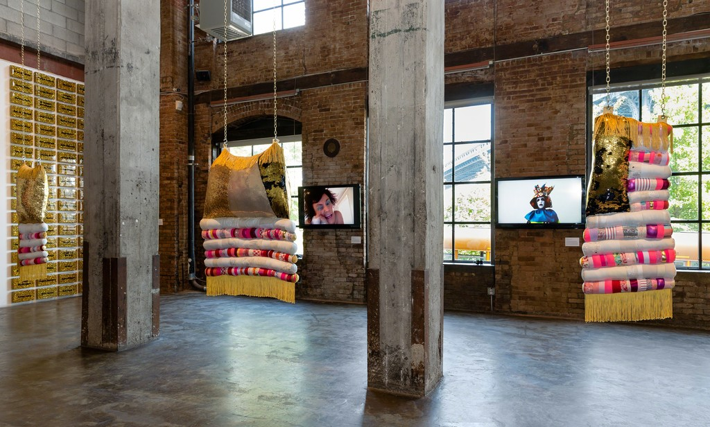 Installation view of Laugh Back, 2018. Curated by Lindsey O'Connor July 14 - August 19, 2018 Image courtesy of Smack Mellon. Photo by Etienne Frossard.