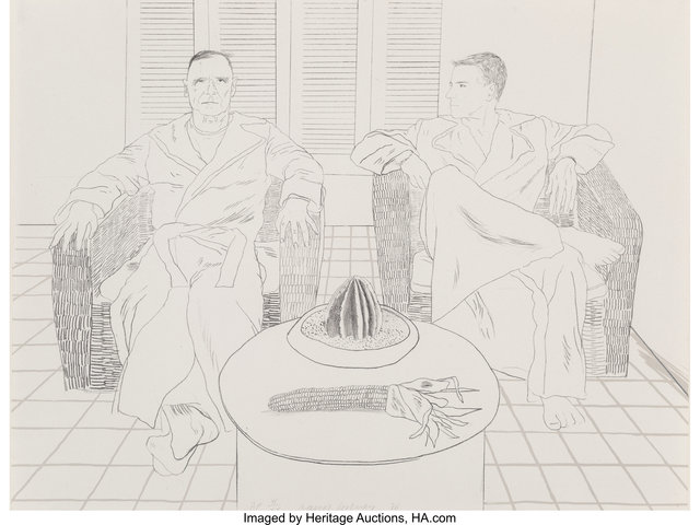 David Hockney, 'Christopher Ischewood and Don Bacardy', 1976, Heritage Auctions