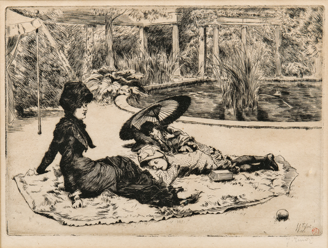 James Jacques-Joseph Tissot, 'Sur l'herbe', 1880, Print, Etching and drypoint on paper, Skinner