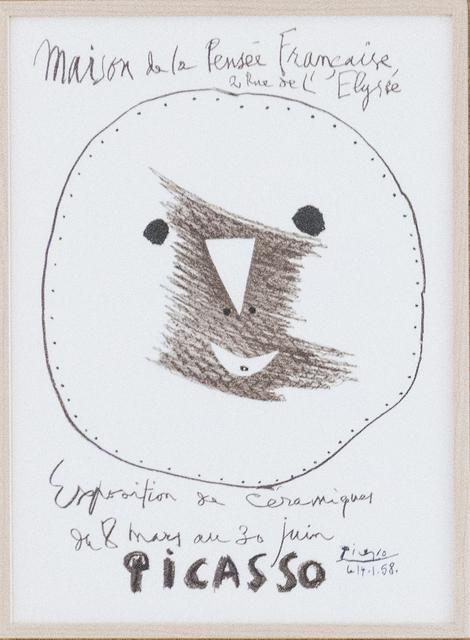 Pablo Picasso, 'Maison de la Pensée Francaise Exposition de céramiques', 1958, BASTIAN
