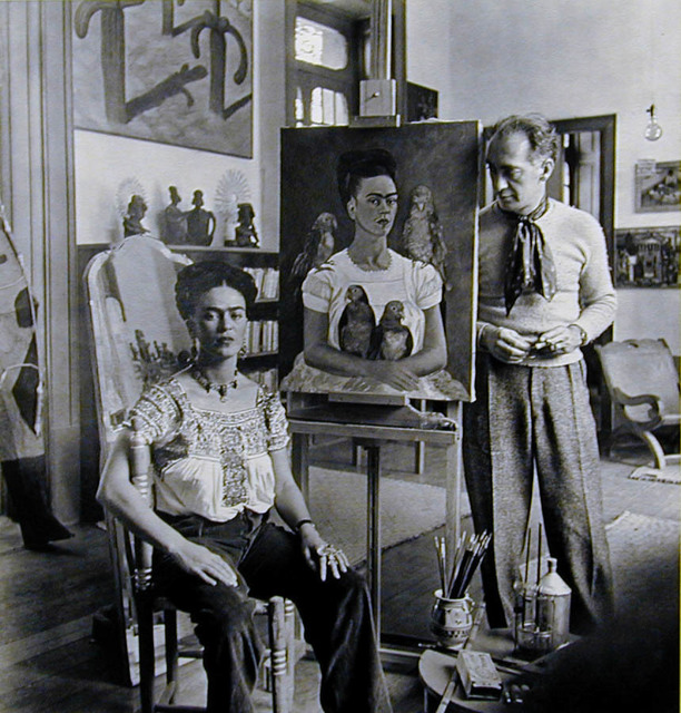 ", 'Frida Painting ""Me and My Parrots"",' 1941, PDNB Gallery"