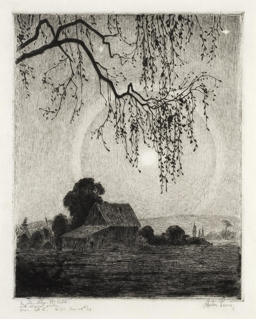 , 'Moonlit Farm Scene.,' ca. 1916, The Old Print Shop, Inc.