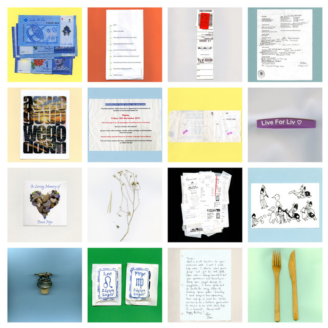 , 'Grid of 16 Travel Ephemera Still Lifes,' 2010-2016, MASS MoCA