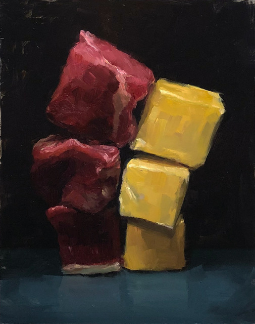 Tom Giesler, 'Fat stacks: beef and butter', 2019, Painting, Oil on panel, McVarish Gallery