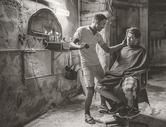 Barbershop at Night, Havana, Cuba