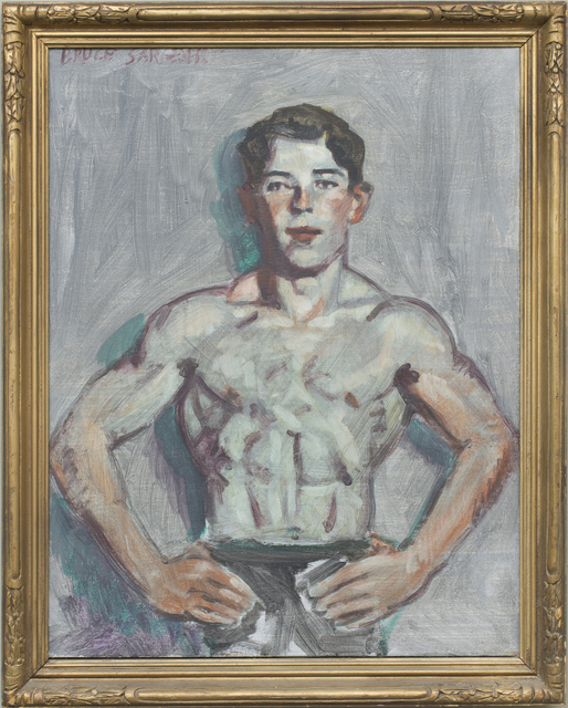 , 'Unidentified Young Swimmer (Original Oil Painting in Vintage Frame),' date unknown , Carrie Haddad Gallery
