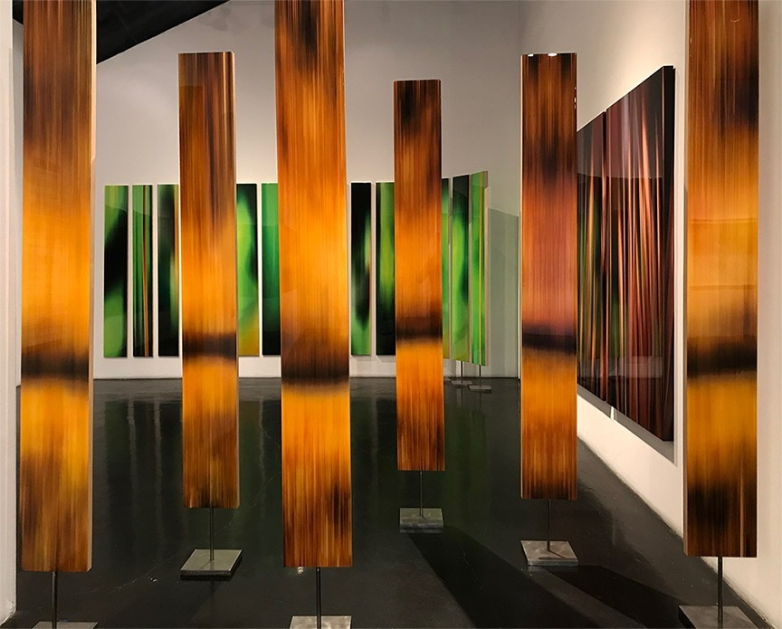 """Michel Tabori, Sequoia, 2017, Oil, acrylic, resin, canvas on two-sided maple panels mounted on steel bases, 84"""" x 10"""" each, $6,500 each"""