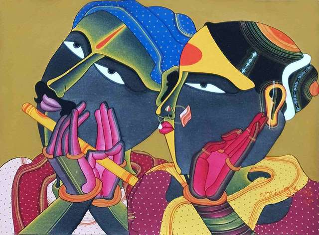 "Thota Vaikuntam, 'Telengana Couple, Acrylic, Charcoal on Paper by Modern Artist ""In Stock""', 2018, Gallery Kolkata"