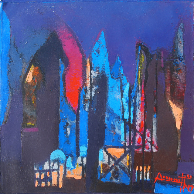 , 'Structure VI, acrylic in blue, red & violet color, abstract painting by Contemporary Indian Artist Somenath Maity,' 2017, Gallery Kolkata