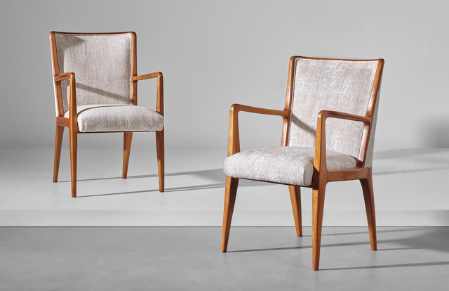 Gio Ponti, 'Pair of armchairs, model no. 498, designed for the first class games room of the 'Giulio Cesare' transatlantic ocean liner', Phillips
