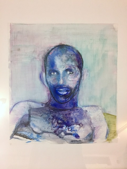 Geoffrey Chadsey, 'Blue Portrait', 2008, Drawing, Collage or other Work on Paper, Watercolor pencil and ink on Mylar, Visual AIDS Benefit Auction