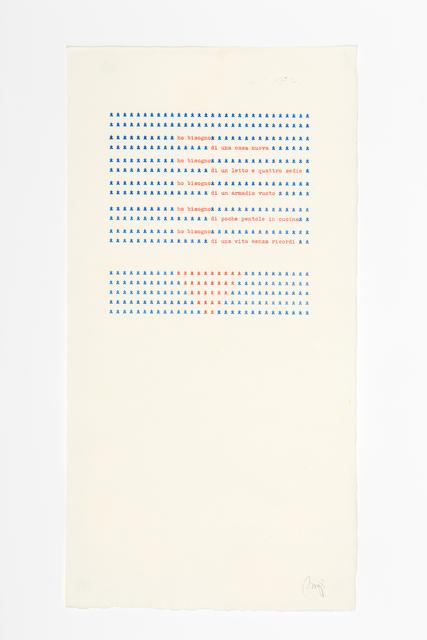 , 'Ho bisogno di una casa nuova,,' 1978, Richard Saltoun
