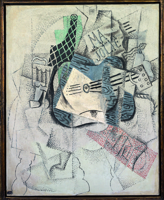 """Pablo Picasso, 'Verre, bouteille, guitare (""""Ma jolie"""") (Glass, Bottle, Guitar, """"Ma jolie"""")', 1914, Painting, Oil and sand on canvas, Fondation Beyeler"""