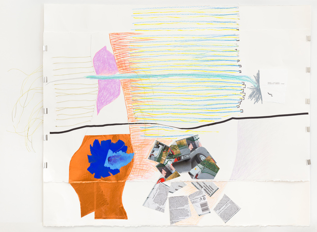 Jessica Stockholder, 'Error: Limitcheck', 2018, Drawing, Collage or other Work on Paper, Two pieces of paper clipped together, ink, acrylic paint, pencil crayon, graphite, copperfoil, paperr collage, wire, Galerie nächst St. Stephan Rosemarie Schwarzwälder