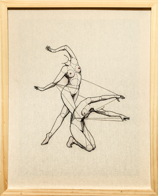 Andrea Farina, 'Pas de Deux', 2015, Textile Arts, Embroidery on stretched linen with ink, Paradigm Gallery + Studio