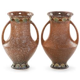 """Two 9"""" tan Ferella vases, Zanesville, OH"""
