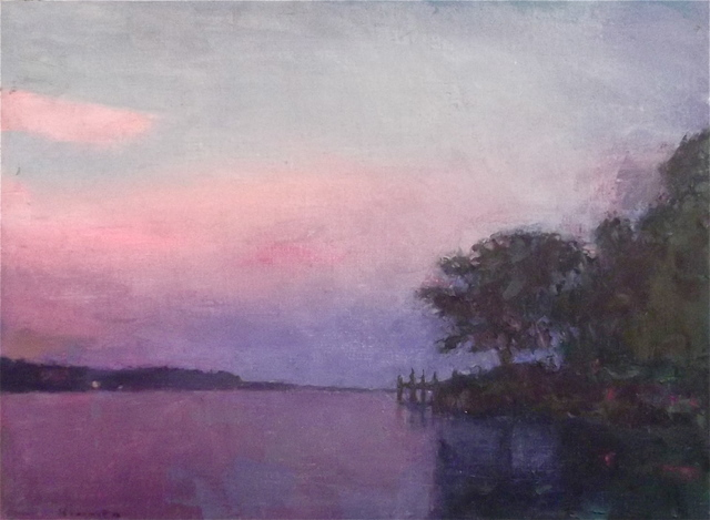 , '''Crepuscular Dusk''oil painting landscape with purple sunset over the lake.,' 2019, Eisenhauer Gallery