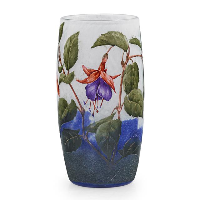 Daum, 'Small Vase With Fuchsia, France', Early 20th C., Rago/Wright