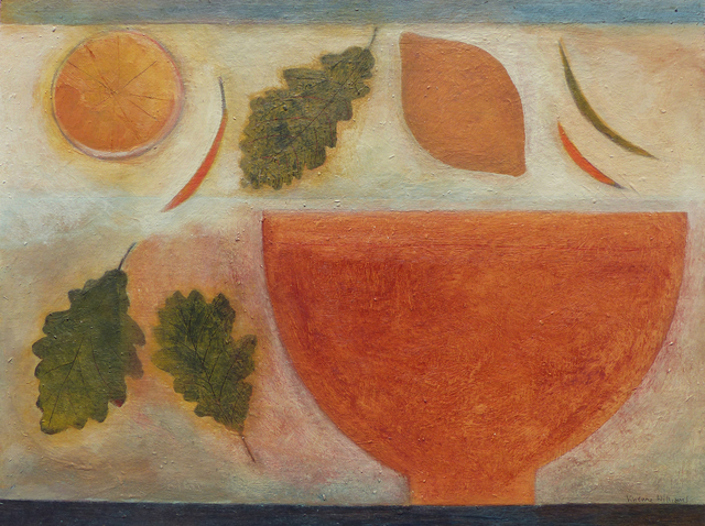 , 'Bowl, Lemons, Chillies & Oak Leaves,' 2018, Thackeray Gallery