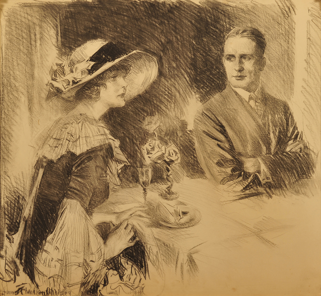 Howard Chandler Christy, 'Redbook Story Illustration', 1924, Drawing, Collage or other Work on Paper, Charcoal on Board, The Illustrated Gallery