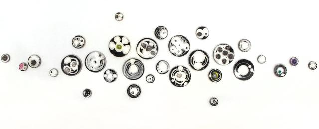 Klari Reis, 'Hypochondria, 30 pieces, Noir', 2019, Sculpture, Petri Dishes, Tee Nuts and Steel Rods, Cynthia Corbett Gallery