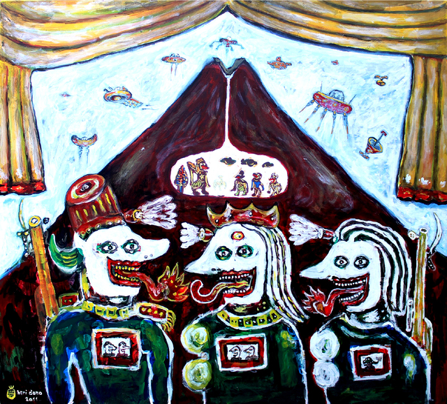 Heri Dono, 'The Future Political Stage', 2011, Painting, Acrylic on canvas, The Columns Gallery
