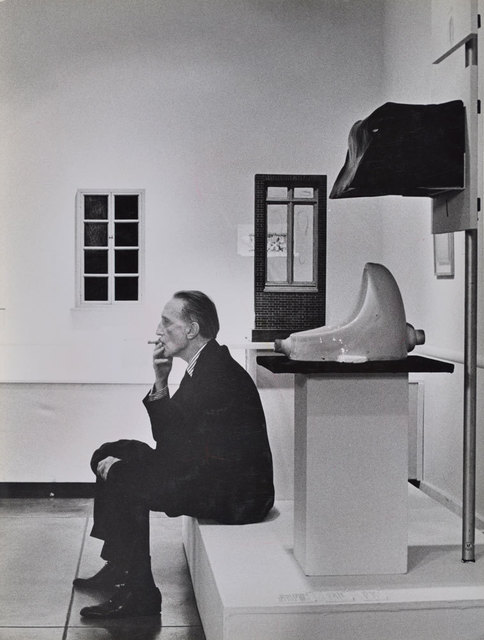 , 'Duchamp smoking in front of Fountain, Duchamp Retrospective, Pasadena Art Museum,' 1963, Robert Berman Gallery