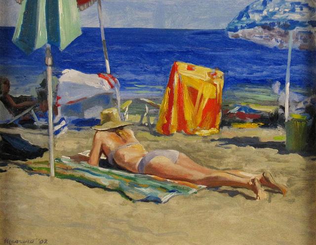 Onelio Marrero, 'Reading on the Beach', ca. 2010, Janus Galleries