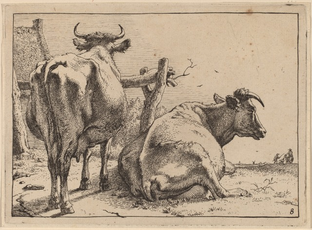 Paulus Potter, 'Two Cows Seen from Behind', 1650, Print, Etching, National Gallery of Art, Washington, D.C.