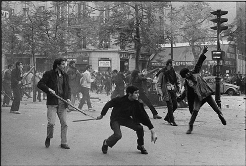 , 'Students Hurling Projectiles Against the Police,' 1968, Milk Gallery