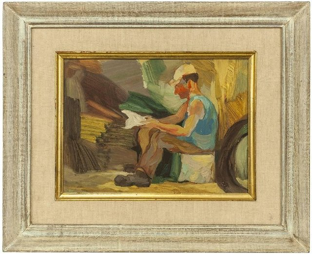 Unknown, 'Vintage 1950s Israeli Oil Painting, Signed in Hebrew  Kibbutz Worker Reading', Mid-20th Century, Lions Gallery